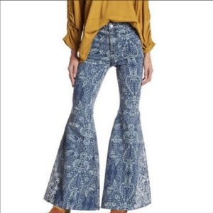 Free People Float on Dot Print Embroidered Flare